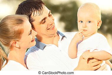 estate, famiglia, natura, madre, padre, bambino, felice