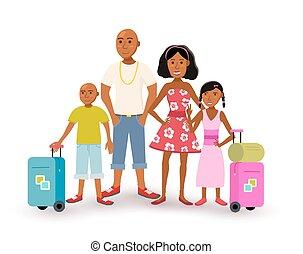 estate, famiglia, viaggiare, vacanza, americano, africano