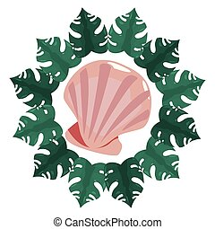 estate, fauna, seashell, cornice, tropicale, foglie