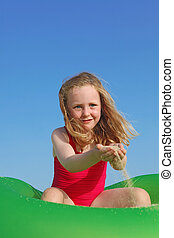 estate, felice, gioco, vacanza, bambino