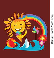 estate, felice, sole, ghiaccio, presa a terra, crema, set;