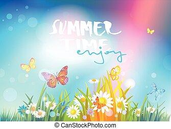 estate, felice, tempo