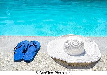 estate,  FLOPS, cappello, buffetto, stagno