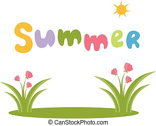 estate, flowers., vettore, illustrazione, testo