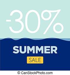 estate, fondo, manifesto, vendita, vettore, mare
