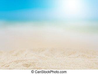 estate, fondo, mare, offuscamento, spiaggia, sabbioso