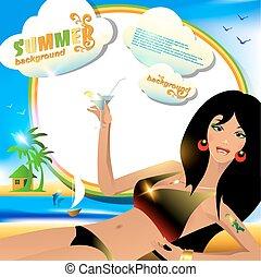 estate, fondo, o, scheda, con, sexy, ragazza, con, cocktail.
