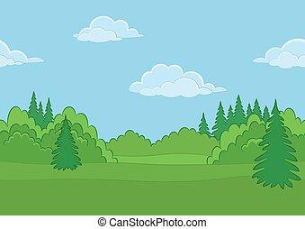 estate, foresta, paesaggio, seamless