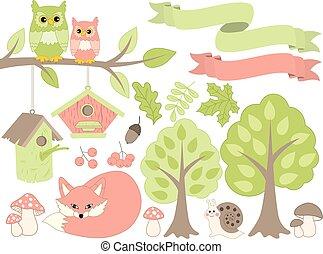 estate, foresta, set, con, animali, e, piante