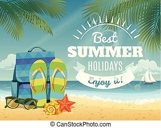 estate, fresco, vettore, elements., manifesto