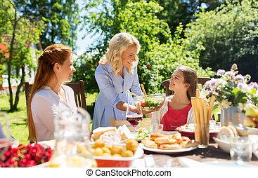 estate, giardino, cena famiglia, detenere, felice