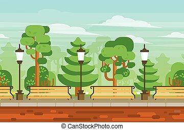 estate, giardino, paesaggio, manifesto