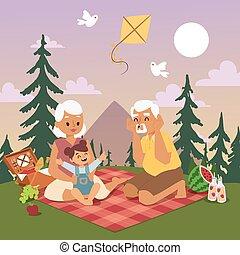 estate, gioco, esterno, picnic, natura, nipote, giovane, illustrazione, nonno, nonna, loro, foresta, vettore, insieme, felice