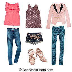 estate, giovane, moda, collage, clothes.
