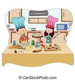 estate, godere, bambini, cookingactivities, campeggiare