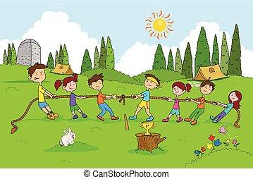 estate, godere, campeggiare, bambini, attività