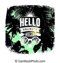 estate, grunge, illustration., manifesto, tipografico, vacanze, vettore, retro, vendemmia, design.