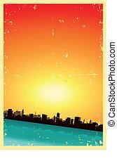 estate, grunge, verticale, urbano, primavera, o, paesaggio