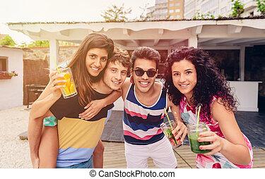 estate, gruppo, persone, divertimento, festa, detenere