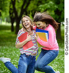 estate, happines, studenti, parco, saltare, felice
