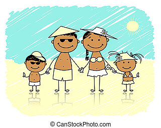 estate, holidays., spiaggia, famiglia, felice