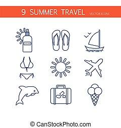 estate, icone corsa, set, vector.