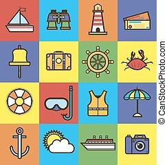 estate, icone, viaggiare, vacanza, appartamento, oceano, vettore, mare, crociera, o
