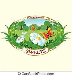 estate, idilliaco, pastorale, prato, soleggiato, flying., cartone animato, farfalle, verde, margherite, paesaggio