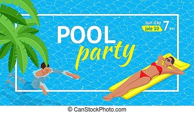 estate, illustration., web, vacation., festa., nightclub., aloha, o, vettore, aviatore, invito, spiaggia, bandiera, summer.