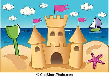 estate, illustrazione, sabbia, caratterizzare, spiaggia, castello