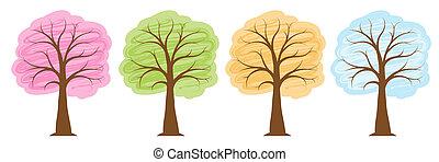 estate, inverno, primavera, luminoso, albero, quattro, colori, stagioni, autunno