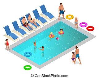 estate, isometrico, famiglia, concept., vacanza, illustrazione, vettore, lusso, godere, stagno, nuoto