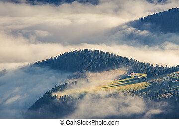 estate, italiano, alba, nebbioso, alpi