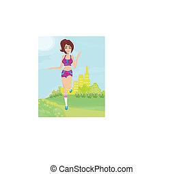 estate, jogging, ragazza