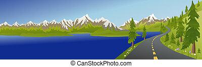 estate, lago, strada, montagna
