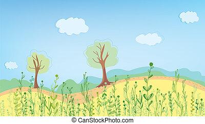 estate, landcape, con, erba, e, albero