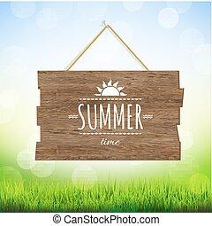 estate, legno, asse, tempo