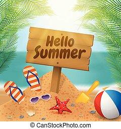 estate, legno, cartello, scena, spiaggia, ciao