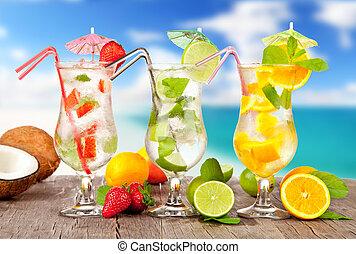 estate, legno, spiaggia, pezzi, cocktail, frutta, fondo, offuscamento, tavola.