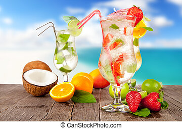 estate, legno, spiaggia, pezzi, cocktail, frutta, fondo, offuscamento, tavola