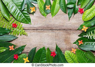 estate, legno, testo, foglie, posto, fondo, vuoto, fiori