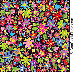 estate, luminoso, carta da parati, fiori