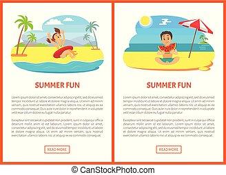 estate, mangiare, manifesto, vettore, divertimento, nuoto