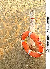 estate, mare, lifebuoy, verticale, spiaggia