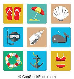 estate, marino, icone