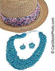 estate, moda, cappello, e, gioielleria