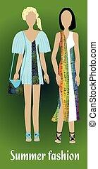 estate, moda, colorito, moda, moderno, vestiti, gioventù, silhouette, disegno, ragazza
