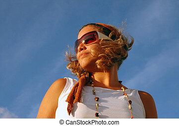 estate, moda, occhiali da sole, ragazza