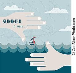 estate, modellato, cornice, mare, mani, mirino, o, vista