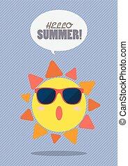estate, modello, sole, sunburst, ciao, felice